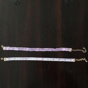 Purple lace chokers